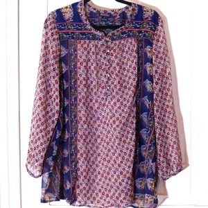 Lucky Brand Sheer Paisley & Floral Top 3X